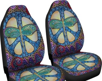 Dragonfly Peace Car Seat Covers Pair 2 Front Cover For Blue Protector Bohemian Boho Chic