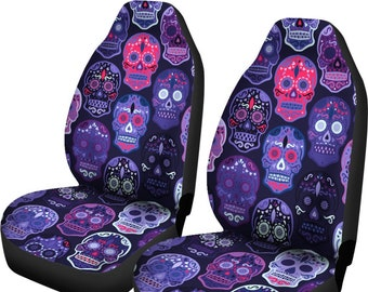 Sugar Skull Car Seat Covers Pair 2 Front Cover For Protector Bohemian Boho Chic