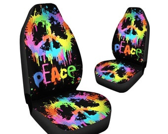 Peace Multi Blue Design Car Seat Covers PairSeat Cover For VehicleCar CoversSeat CarCar Protectorbohemian Boho