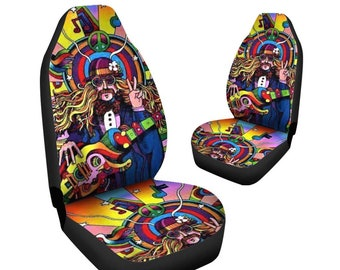 Happy Hippie Blue Design Car Seat Covers PairSeat Cover For VehicleCar CoversSeat CarCar Protectorbohemian Boho