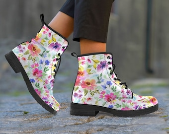 dbf2a67a42b Watercolor Flowers Design BoHo Boot Woman, Boho Chic Boots, Keep Or Gift To  Someone Who Is A Little Hippie, Dr Martens Style Boots