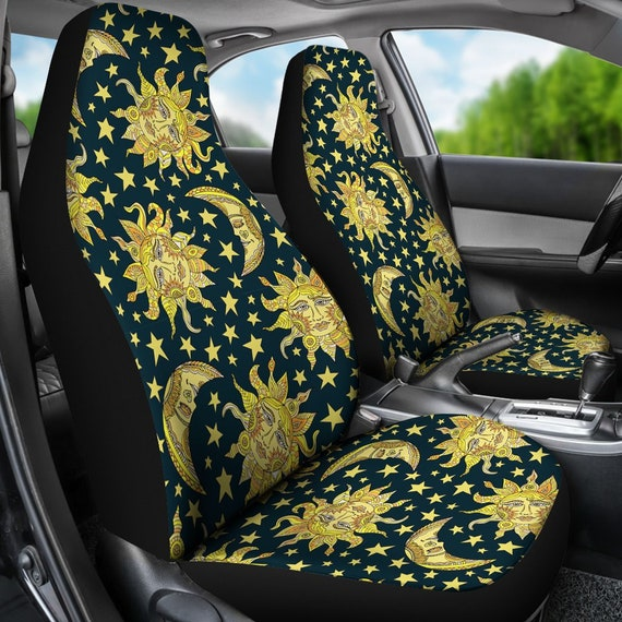 Golden Sun Moon Car Seat Covers Pair Seat Cover For Etsy