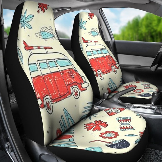 Hippie Bus Car Seat Covers Pair Seat Cover For Vehicle Car Etsy
