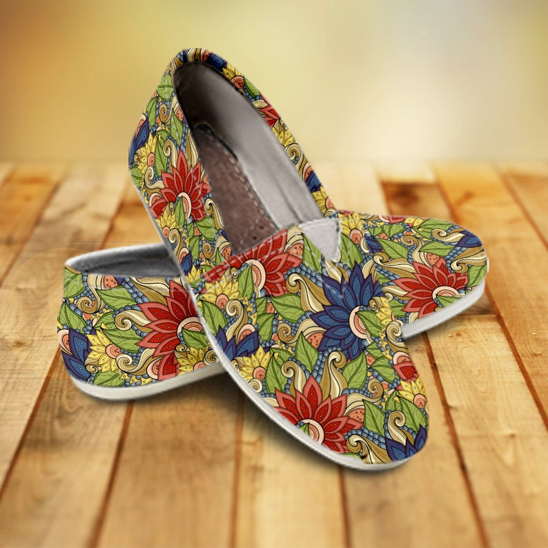 fce05e122cf6f Floral Pattern Canvas Shoes For Women, Boho Casual Shoes For Women, Toms  Style Shoes, Loafers, Slip Ons, Vegan Shoes, Ethnic, Hippie