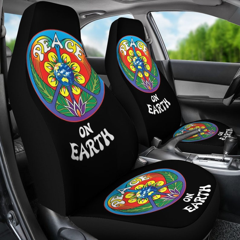 Peace On Earth Car Seat Covers Pair Seat Cover For Vehicle Etsy