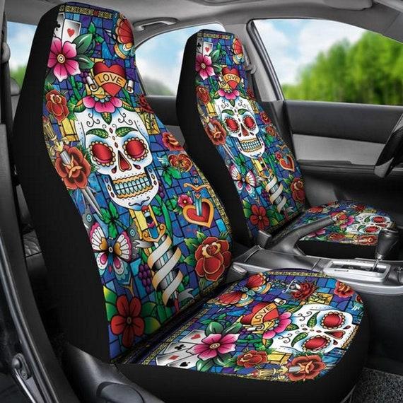 Terrific Sugar Skull Car Seat Covers Calavera Day Of The Dead Sugar Skulls Sugar Skull Art Dia De Los Muertos Sugar Skull Pattern S13 Machost Co Dining Chair Design Ideas Machostcouk