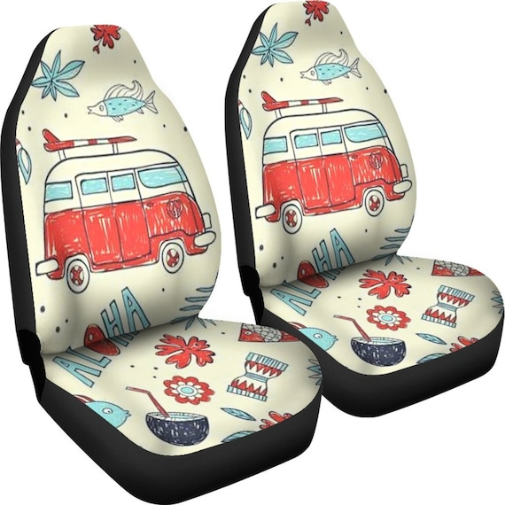 Hippie Bus Car Seat Covers Pair Cover For Vehicle
