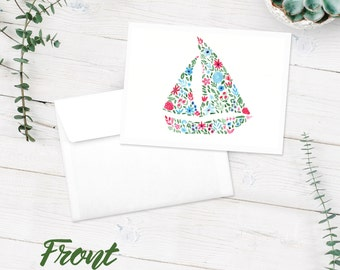 Sailboat Notecards | Blank Note Cards | 10-Pack Blank Greeting Cards | Boat Floral Watercolor Art Print | FREE SHIPPING