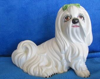 Vintage dog porcelain figurine - Made in Italy - Maltese/ Shih Tzu