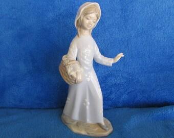 Vintage girl  flower basket porcelain figurine Zaphir Made in Spain