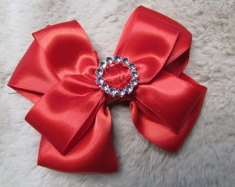 """4"""" Girl's Hair Bow red satin"""