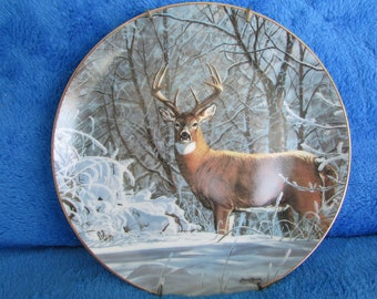 Vintage Collector Porcelain Plate Winter Whitetail by Bruce Miller Friends of the forest