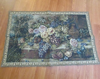 Vintage Still Life Flowers and Fruits finished Wall Tapestry - Made in Italy
