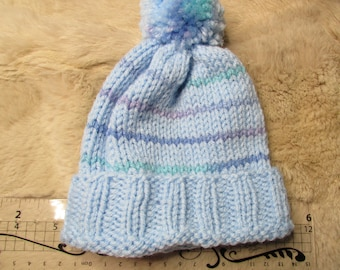 Blue Baby hat hand knitted Winter fun