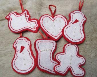 10 Christmas tree felt ornaments red white