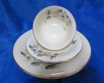 Hutchenreuther Bavaria Vintage Collector Porcelain gold plated teacup, saucer and cake plate set