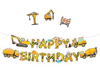 Construction Birthday Party Supplies Banner - Premium Pre-Assembled Happy Birthday Decoration with Dumb Truck Excavator Crane and more