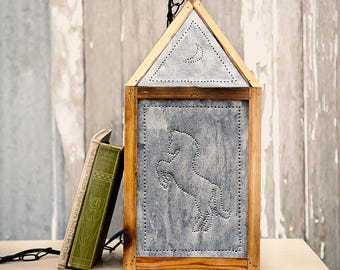 Rustic Punched Tin Swag Lamp - Western Horse Theme - Cedar Frame