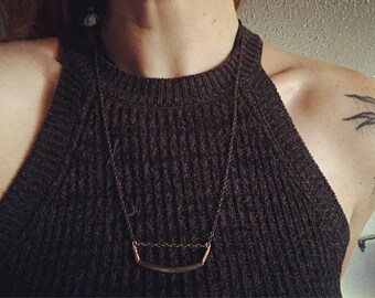 Copper and bronze minimalist necklace