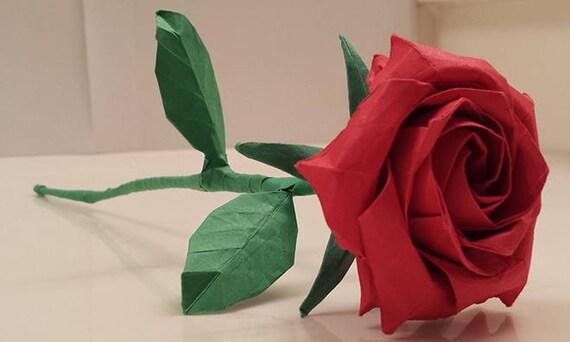Origami Rose Paper Rose Origami Flower Anniversary Etsy