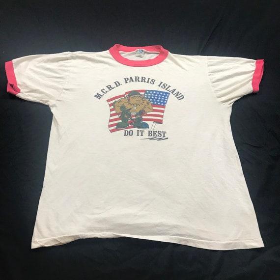 Vintage 70s, 80s Paris Island ringer tee shirt, ri