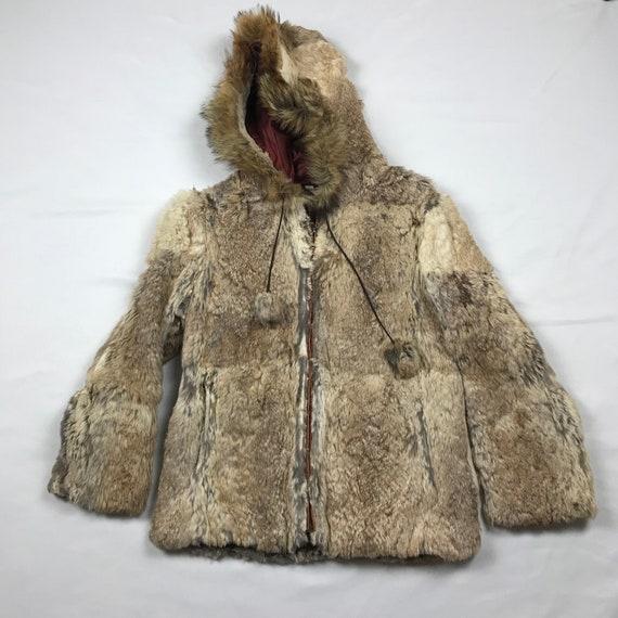 vintage womans, vintage 70's, rabbit fur hoodie, h