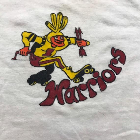 Vintage 70s, ringer tee shirt, warriors, roller de