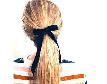 59210478f105 Black Velvet Bow - Hair Tie - French Barrette