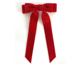 3fdba5a683f7 Ruby Red Velvet Bow - Hair Tie - French Barrette