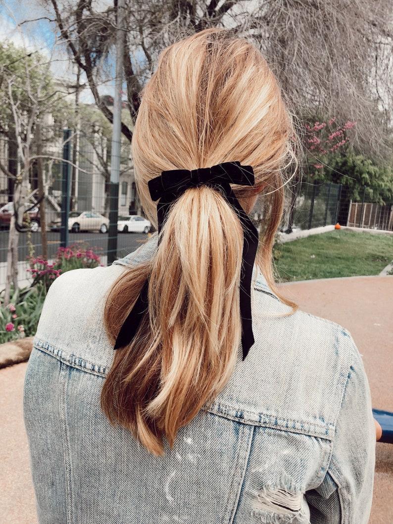 Black Velvet Bow  Hair Tie  French Barrette image 0