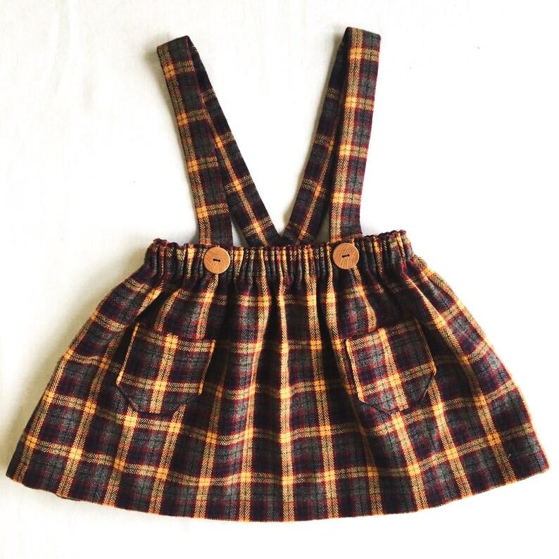 11a9e376826 GIRLS SUSPENDER SKIRT vintage baby toddler girls plaid
