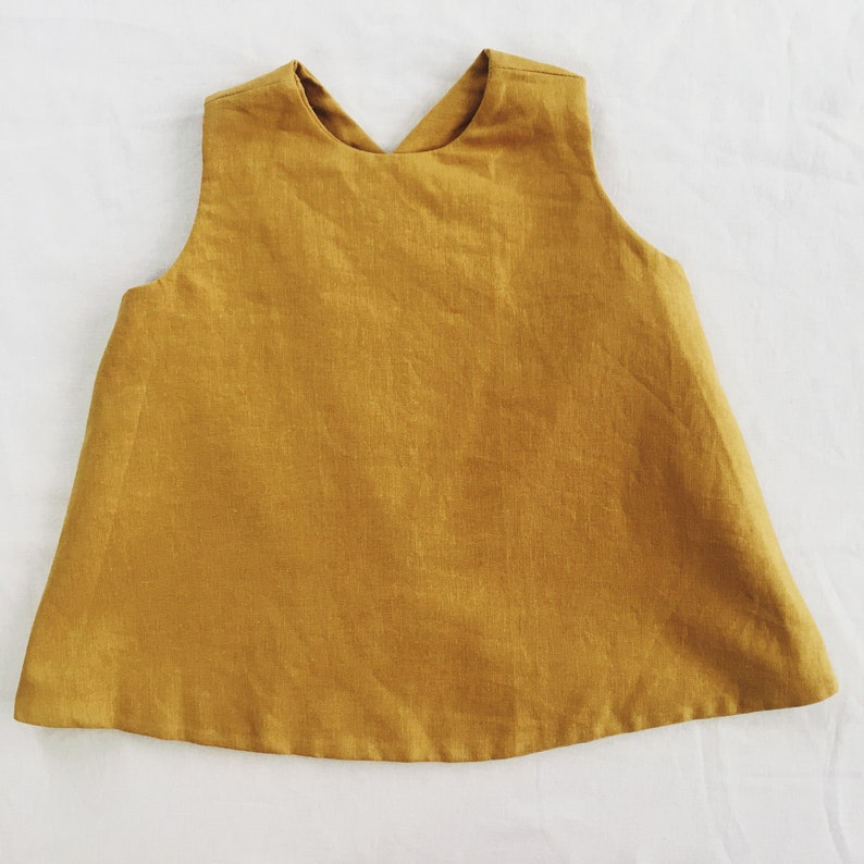 2647c882d MUSTARD GIRLS TOP fall mustard solid linen pinafore tunic