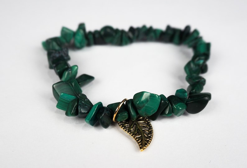 Malachite Green Bracelet Stack Beaded Bracelet Viridescent Jewellery Gemchips Collection 6.577.58 inch