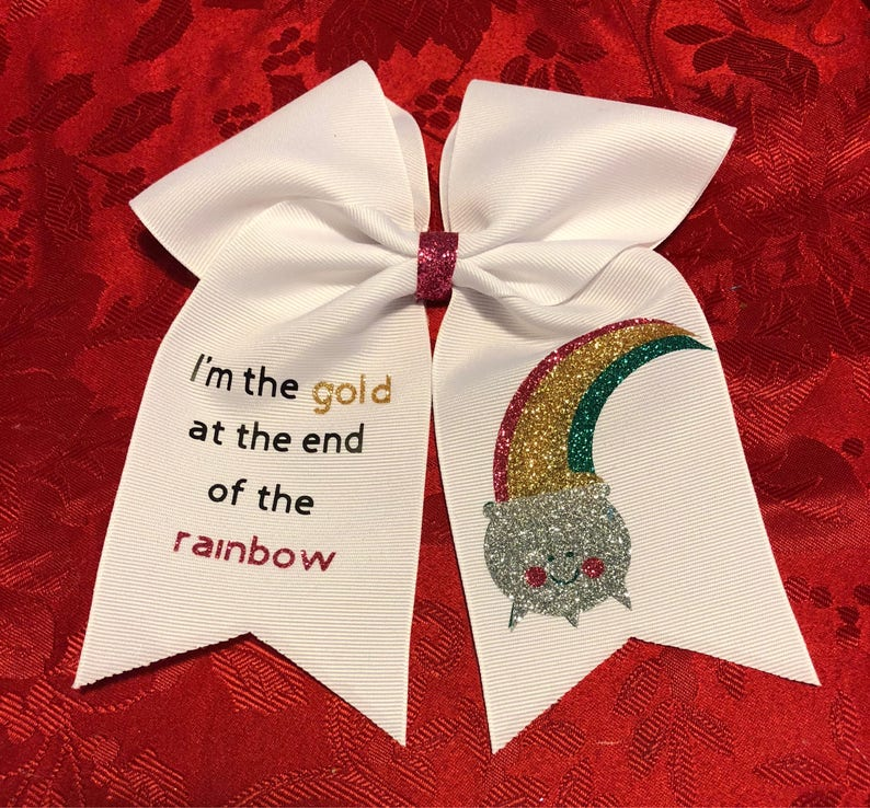 I/'m the gold at the end of the rainbow hair bow