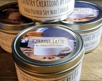 Caramel Latte  Hand-poured Soy Wax Candle