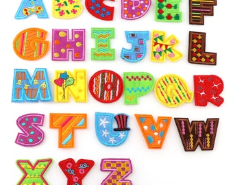 1 pc Indian Silk Beaded 26 Letter A thru Z Handmade Embroideried patches /& pinsColorful Alphabet pinsEasy to use for bag packs