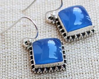 bfb41c9ca Blue chalcedony earrings, handmade earrings, gift for her, chalcedony