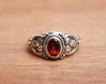 Natural red almandine garnet cut gemstone oval shape handmade designer princess look ring available in all sizes