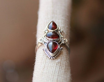 Natural red almandine garnet multistone handmade designer ring available in all ring sizes US,UK and European Ring sizes available