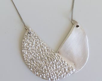 Unique handmade modern silver short necklace, made from silverclay