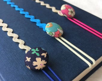 Button Bookmarks made with Liberty Fabric