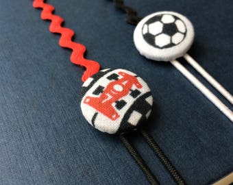 Racing Car and Football Button Bookmarks