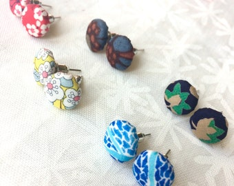Button Earrings made with Liberty Fabric