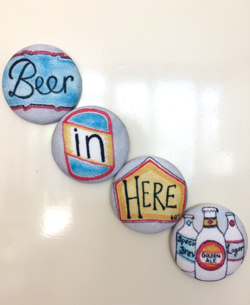 Easy Post Gift Fathers Day Gift set of 4 Magnets Man Gift Bachelor Pad Gift Dad Gift Beer Lovers Gift Beer In Here Fridge Magnets
