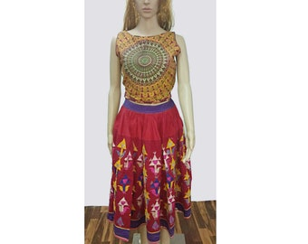 74cd756691 Women's Cotton Vintage Skirt Indian Old Bohemian Bottom Wear Frock Garment Wear  Mirror Work Rajasthani Embroidered Dress Adult Size Multi