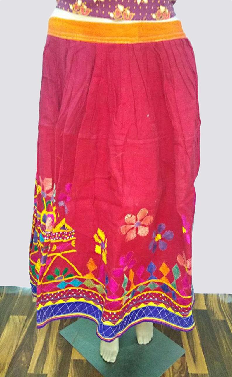 Banjara Ladies Skirt Women Vintage Designer Frock Apparel Cotton West Skirt Red Ethnic Lehenga Traditional Mirror Work Embroidered Skirt