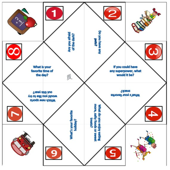 photo relating to Printable Fortune Teller called Cootie catchers - Fortune tellers - Bash favors - Do it yourself - Printables - Match - Small children - Household - Get together online games