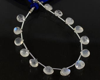 """Natural Rainbow Moonstone, Rainbow Moonstone, Moonstone Gemstone, Faceted Heart Beads 9x9mm, 44.80 CRT, 7.5"""" Long For Making Jewelry VG-261"""