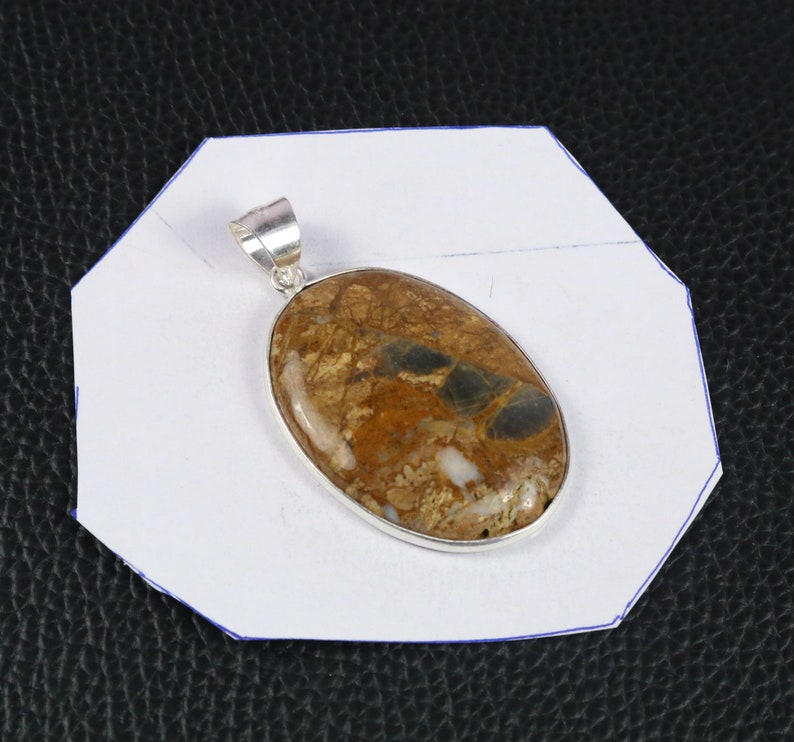 Sterling Silver Pendant Jewelry Gift For Her Lovely Yellow Moss Agate 925 Silver Pendant #VP-252 925 Solid Silver Gemstone Bezel Pendant