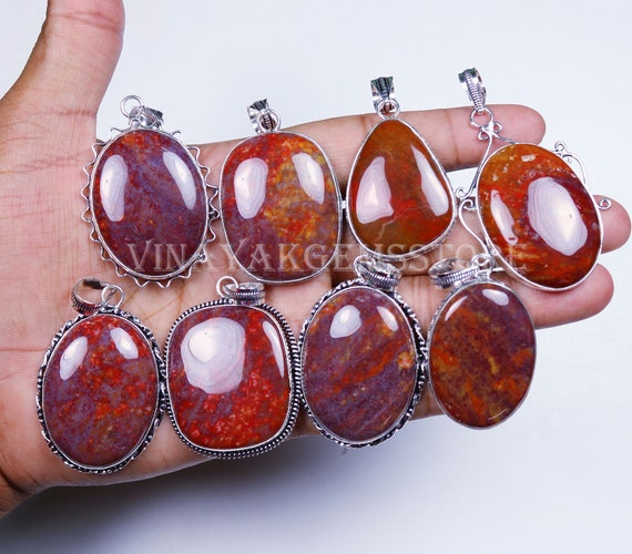 Elegant Sale 25 PCs Lot Natural Red Onyx Gemstone Silver Plated Bezel Pendants
